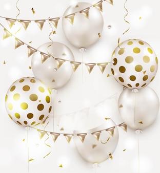 Projeto de celebração com balões de hélio branco sobre um branco. aniversário. feliz aniversário cartão.