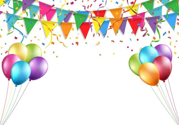Projeto de celebração com bandeira, balão, confete e serpentina.