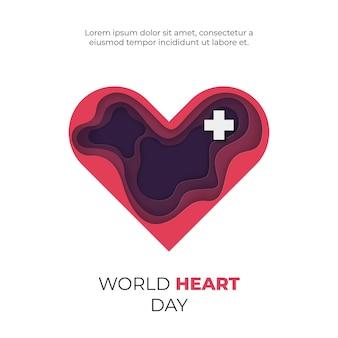 Projeto de celebração mundial do coração, com formas recortadas de papel, celebração internacional