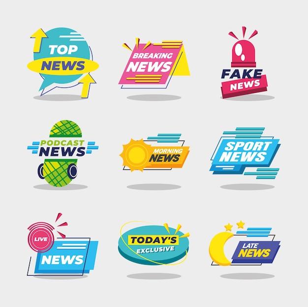 Projeto de cenografia de ícones de banners e rótulos de notícias, comunicação de canal de tecnologia e ilustração de tema de tv