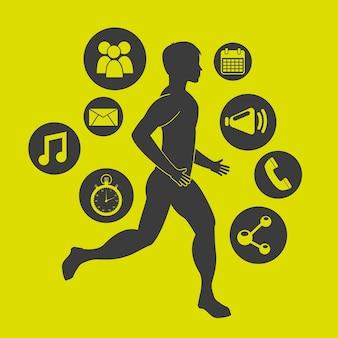 Projeto de centro de fitness, gráfico de vetor ilustração eps10
