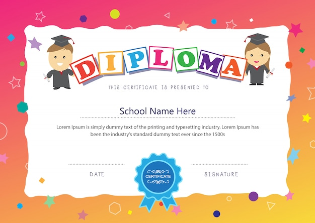 Projeto de certificado de crianças em idade pré-escolar modelo de layout de plano de fundo de diploma de ensino fundamental