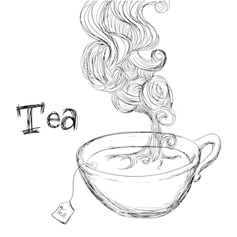 Projeto de chá sobre ilustração vetorial de fundo branco