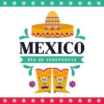 Projeto de chapéu e botas mexico dia de la independencia, ilustração vetorial