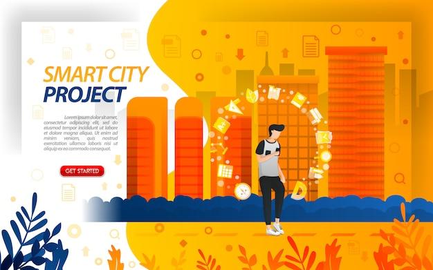Projeto de cidade inteligente com ilustrações da cidade