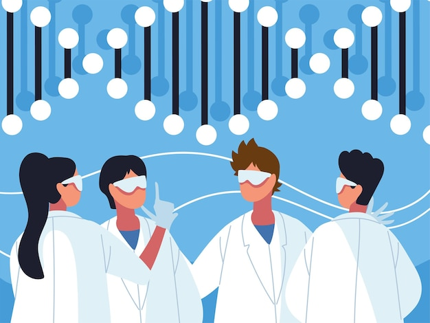 Projeto de ciência genética da equipe médica