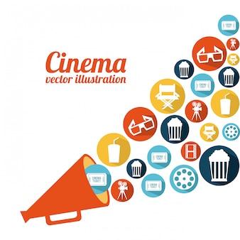 Projeto de cinema sobre ilustração vetorial de fundo branco