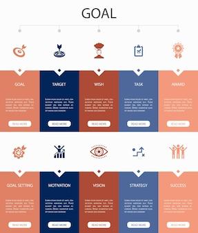 Projeto de círculo de 10 etapas de e-learning infográfico. ensino à distância, treinamento online, treinamento em vídeo, ícones simples de webinar