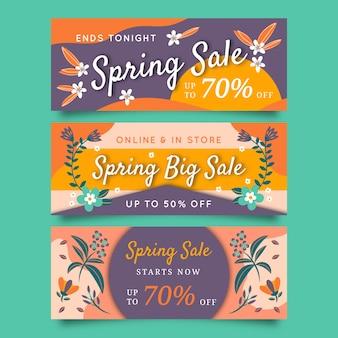 Projeto de coleção de banner de venda primavera