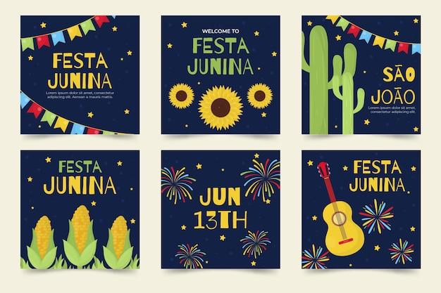 Projeto de coleção de cartão de festa junina