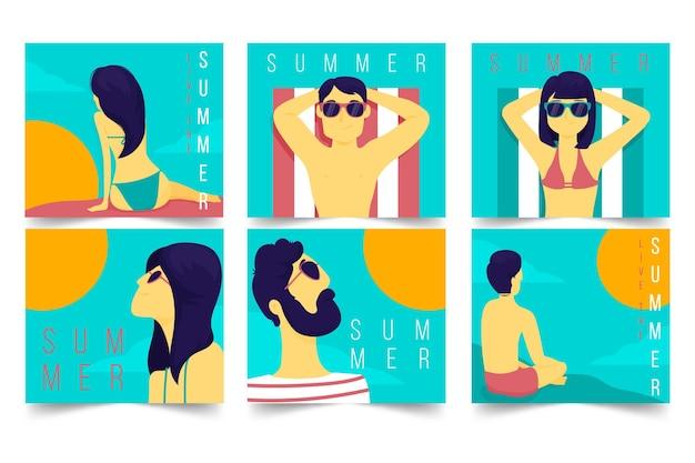 Projeto de coleção de cartões de verão