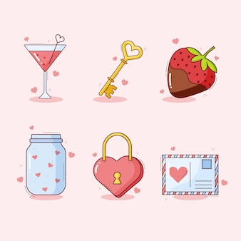 Projeto de coleção de elemento de dia dos namorados