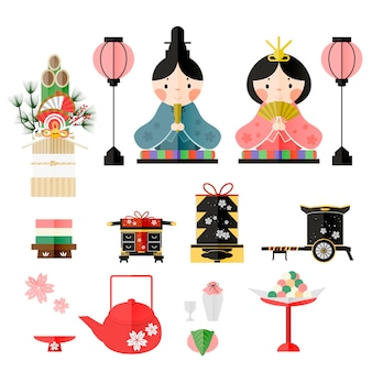 Projeto de coleção de elementos adorável do festival de bonecas japonesas