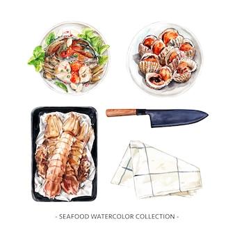 Projeto de coleção de frutos do mar com ilustração em aquarela para uso decorativo.