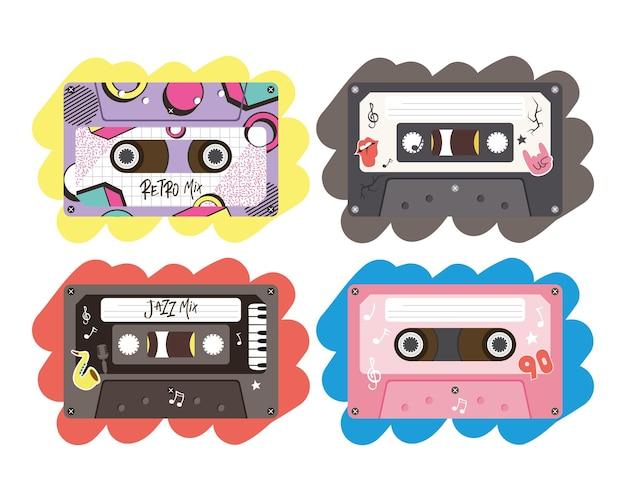 Projeto de coleção de ícone de cassetes retrô, fita vintage de música e tema de áudio.