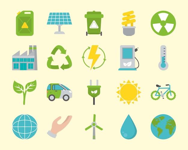 Projeto de coleção de ícones de energia renovável