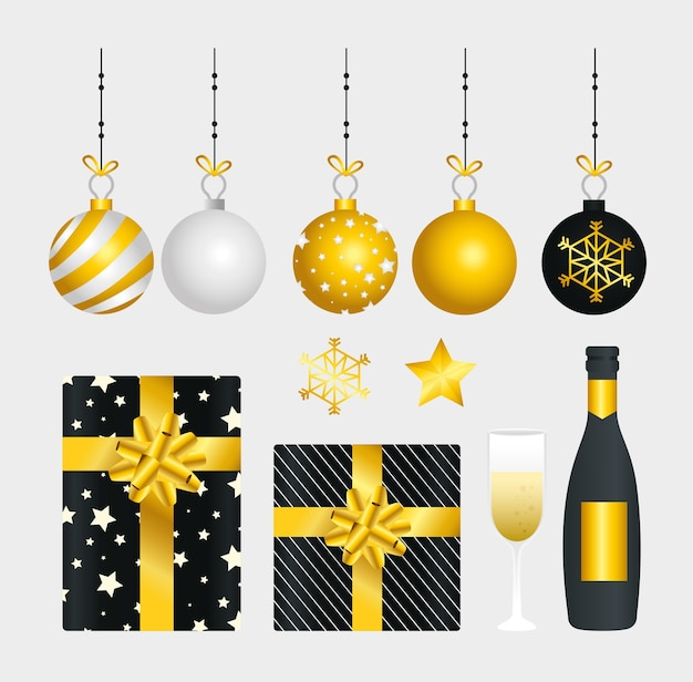Projeto de coleção de ícones de feliz ano novo, boas-vindas, celebrar e saudar