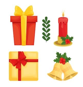 Projeto de coleção de ícones de feliz natal, temporada de inverno e decoração