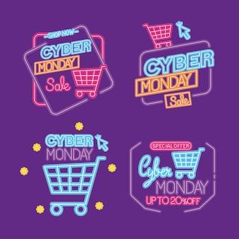 Projeto de coleção de ícones de néon da cyber monday, venda de comércio eletrônico, compras online