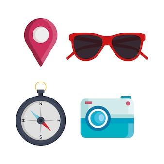 Projeto de coleção de ícones de verão e viagens, turismo de viagem e tema de viagem