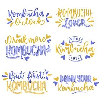 Projeto de coleção de letras de chá de kombuchá