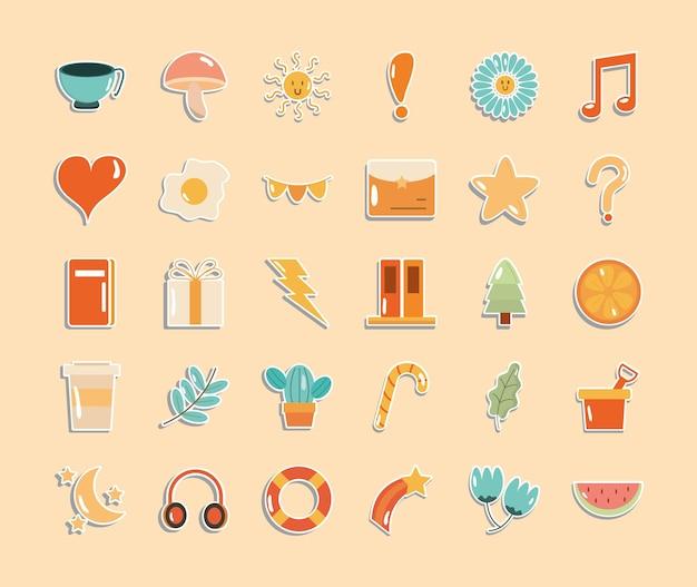 Projeto de coleção de símbolos de adesivos fofos, emblemas e ilustração de tema de moda