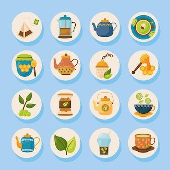 Projeto de coleção de símbolos de chá, ilustração do tema time drink breakfast e bebida
