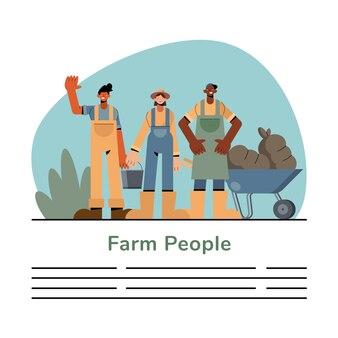 Projeto de coleção de símbolos de pessoas da fazenda, ilustração do tema agricultura, estilo de vida agronomia