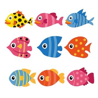 Projeto de coleção de vetor de peixe