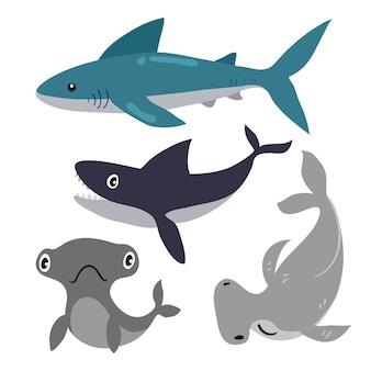 Projeto de coleção de vetores de tubarão