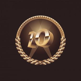 Projeto de comemoração de aniversário de 10 anos. logotipo do selo dourado, ilustração
