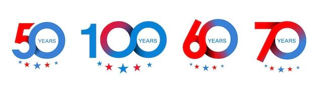 Projeto de comemoração do 50º 60º 70º aniversário do 100º ano