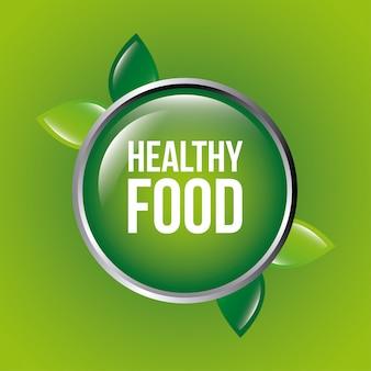 Projeto de comida saudável sobre ilustração vetorial de fundo verde