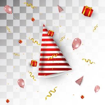 Projeto de complemento de evento de festa, contém chapéus de festa, caixas de presente, fitas e balões