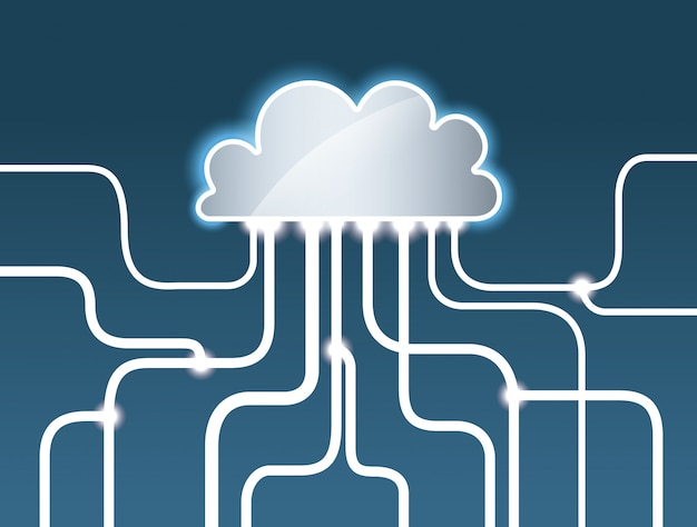 Projeto de computação em nuvem, ilustração vetorial.