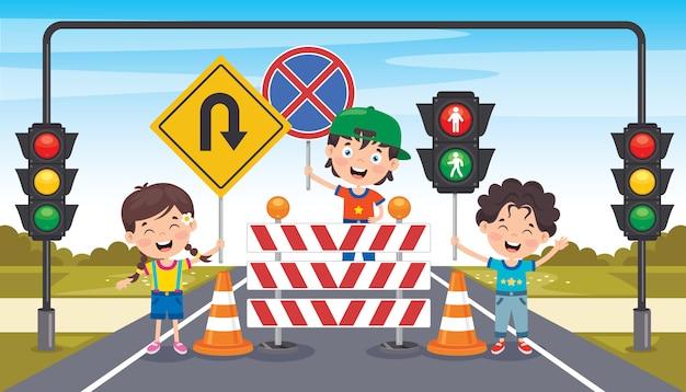 Projeto de conceito com sinais de trânsito