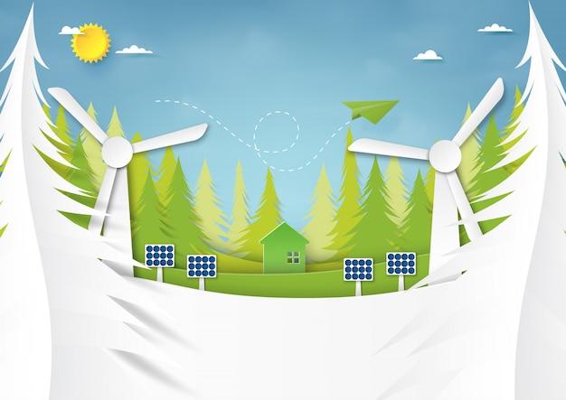 Projeto de conceito criativo da ideia da conservação da ecologia e do ambiente.