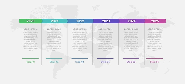 Projeto de conceito de apresentação criativa para infográficos de linha do tempo em 6 etapas faixa de opção vertical
