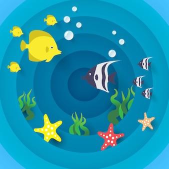 Projeto de conceito de arte de corte de papel, peixe e estrela do mar, estilo de corte de papel colorido feito à mão.