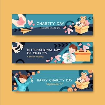 Projeto de conceito de banner do dia internacional da caridade com aquarela de propaganda.