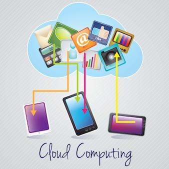 Projeto de conceito de computação em nuvem dispositivos conectados na ilustração de backgroundvector cinza