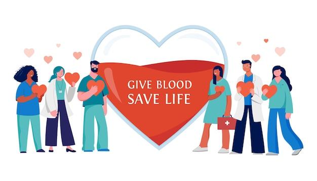 Projeto de conceito de doação de sangue - grupo de profissionais médicos em um fundo de coração vermelho