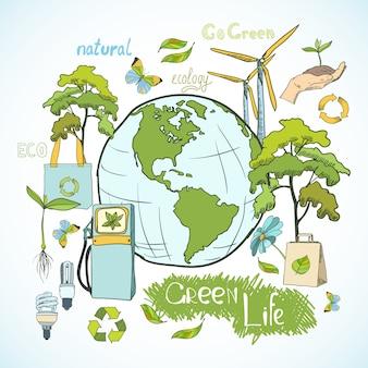 Projeto de conceito de ecologia e meio ambiente