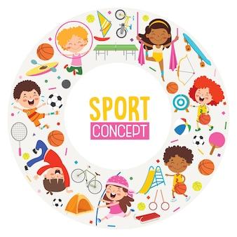 Projeto de conceito de esporte com crianças engraçadas