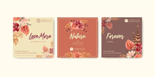 Projeto de conceito de flor outono para publicidade e marketing