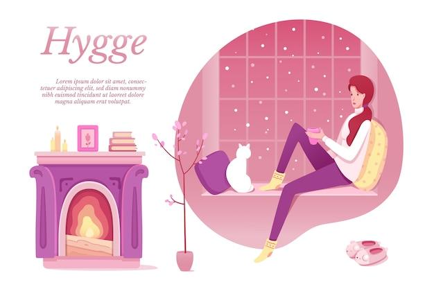 Projeto de conceito de hygge escandinavo, jovem mulher sentada no parapeito da janela com o gato.