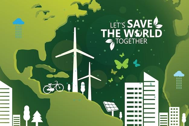 Projeto de conceito de ideia criativa de ecologia e preservação do meio ambiente