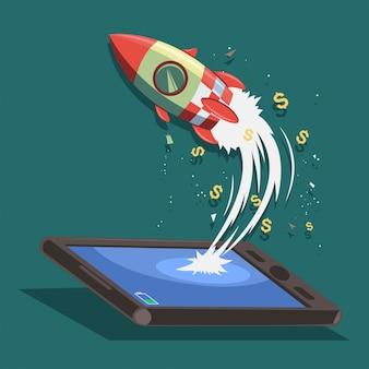 Projeto de conceito de inicialização. foguete voa de um smartphone ou tablet. ilustração dos desenhos animados de um negócio de lançamento bem-sucedido.