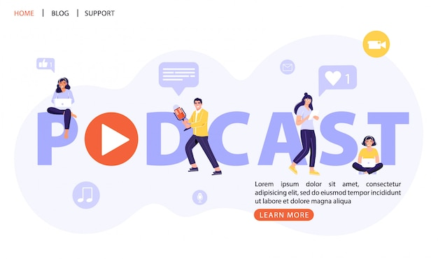 Projeto de conceito de letras de palavra de podcast. pessoas com fones de ouvido ouvem um podcast.