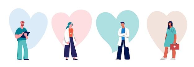Projeto de conceito de médicos e enfermeiras - grupo de profissionais médicos em um fundo de coração. ilustração vetorial